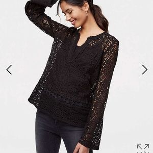 NWT beautiful black lace bell sleeve top from Loft